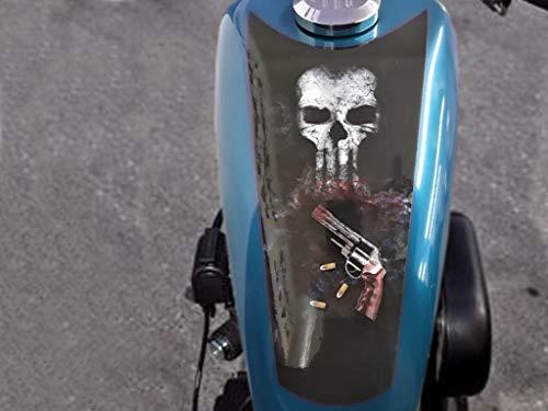 East Coast Vinyl Werkz Punisher Skulls 3pc Tank Panel/Shield Decal Set Harley Davidson Sportster Iron 883 1200 48 Chopper Bobber Rat Bike