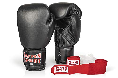 Paffen Sport «Advanced» Box-Bundle, «KIBO Fight» Boxhandschuhe, schwarz, 12UZ; «Allround» Bandage rot, 3,5 m; «Allround» Zahnschutz, transparent, ohne Mint
