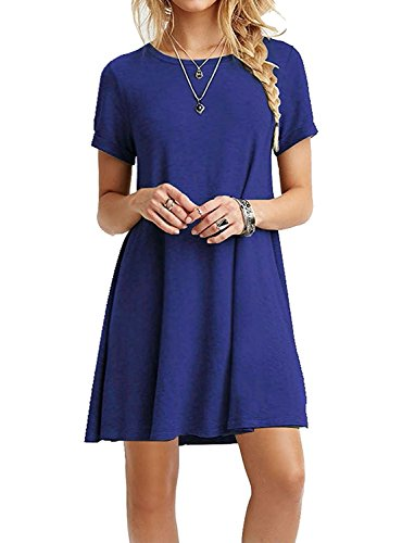 TINYHI Women's Swing Loose Short Sleeve Tshirt Fit Comfy Casual Flowy Tunic Cotton Dress Royalblue, Small
