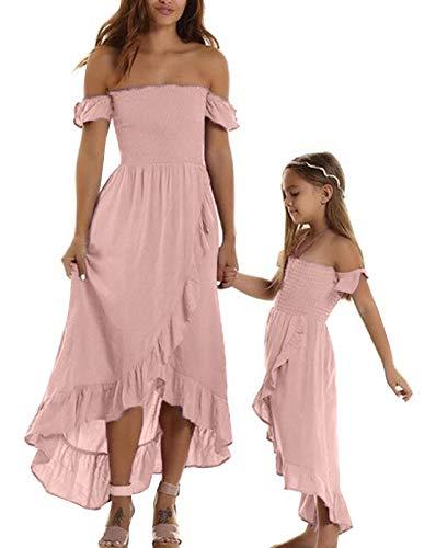 Carolilly Schönes Mutter Tochter Schulterfrei Kleider Matching Outfits Familien Kleidung Prinzessin Kleid (Rosa/Tochter, 2-3 Jahre)