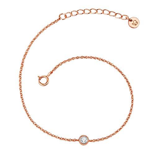 Glanzstücke München Damen-Armband Sterling Silber 925 mit Topas rosévergoldet - Spirituelles Armband mit Heilstein in Rosegold-Farben