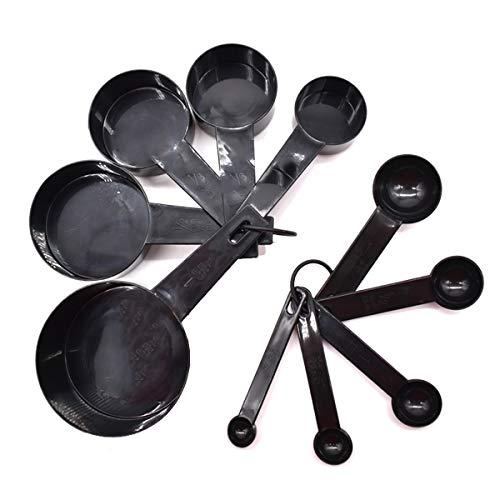 Liwein Cucchiaio Dosatore Set, 10 in 1 Misurino Plastica Misurare Tazze con Righello di Marcatura Misurini di Tazze per Cucina Cucinare Misurando Liquidi Solidi Nero