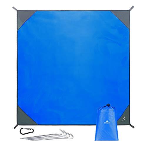 PHILORN Grande Manta de Picnic Esterilla de Playa con 4 Estacas Metálicas Plegable Portátil Impermeable Ligero para Viajar, Acampada (Azul, 250 x 250 cm)