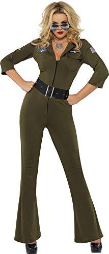 Smiffys Dames Top Gun Aviator Kostuum, Jumpsuit & Riem, Top Gun, Kleur: Groen