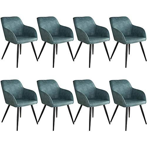 tectake 800872 8er Set Esszimmerstuhl mit Armlehnen, gepolsterte Stoff Sitzfläche, Schwarze Metallbeine, für Wohnzimmer, Esszimmer, Küche und Büro (Blau)