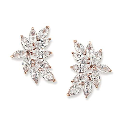 SWEETV Bridal Wedding Earrings for Brides Bridesmaid, Marquise Rose Gold Cubic Zirconia Rhinestone...