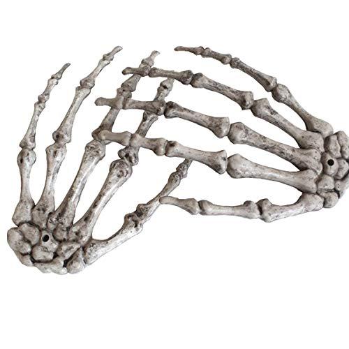 XONOR Halloween Skeleton Hands - Manos realistas de Esqueleto de plástico Cortadas a tamaño Real para Decoraciones de Accesorios de Halloween, 2 Piezas (Derecha e Izquierda)