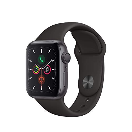 Apple Watch Series 5 40mm (GPS) - Space Grey Aluminium Case with Black Sport Band (Renewed)