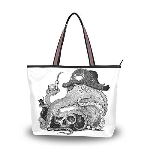 Ahomy Schwarz-Weiß Oktopus Pirat Totenkopf groß leichte Tragetasche Schultertasche für Fitnessstudio, Wandern, Picknick, Reisen, Strand, Mehrfarbig - multi - Größe: L