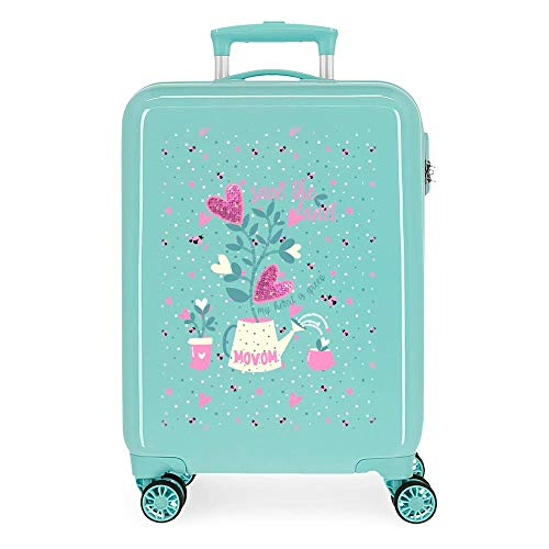Movom Flower Pot Cabin Suitcase Green 38 x 55 x 20 cm Rigid ABS Side Combination Closure 34L 2.6 kg 4 Double Wheels Hand Luggage