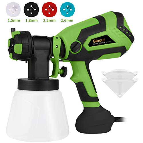 Paint Sprayer, Ginour 600W Electric Paint Sprayer with 4 Nozzle 3 Painting Modes, FenceSprayer...