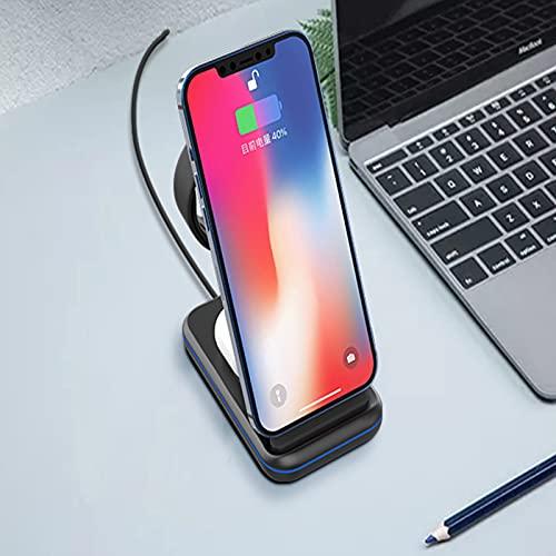 Cargador Inalámbrico 3 En 1,Soporte De Carga Rápida De 15 W Compatible con Apple Watch, Compatible con AirPods Pro, Compatible con iPhone 12 12 Pro 12 Pro MAX con Adaptador QC 3.0