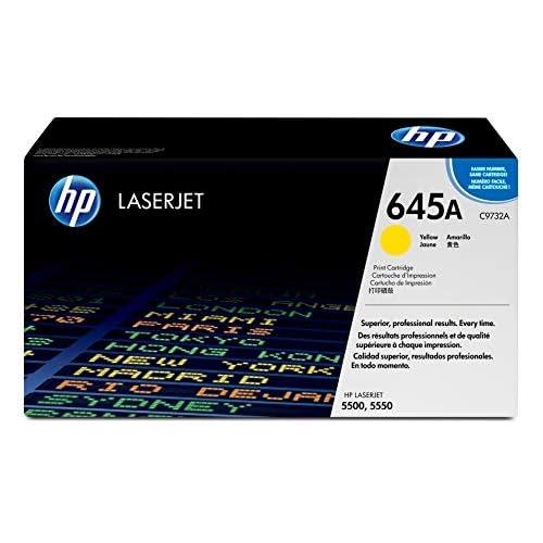 HP 645A C9732A Cartuccia Toner Originale da 12000 Pagine, Capacità Standard, Compatibile con Stampanti Color LaserJet 5500 e Color LaserJet 5550, Giallo
