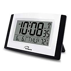 WallarGe Atomic Clock with Night Light,Digital Wall Clock or Desk Clock,7.6In Digital Alarm Clock,Battery Operated,Auto DST,Calendar,Temperature for Bedroom/Kitchen/Office. (with Backlight)