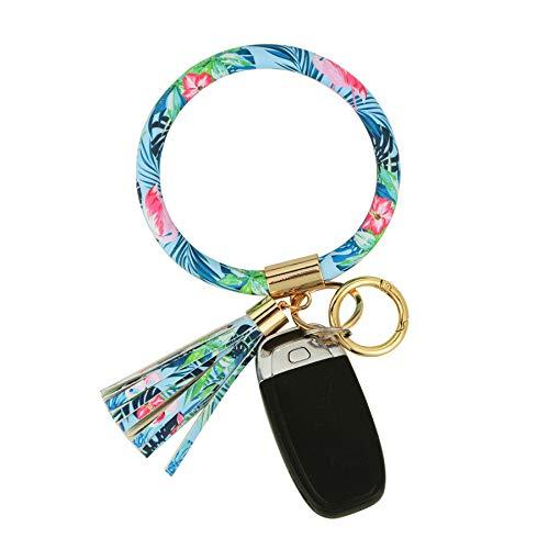 Coolcos Key Ring Bracelets Wristlet Keychain Bangle Keyring - Large Circle Car House Keys Holder for Women Gift (Upgraded Flamingo Pattern)