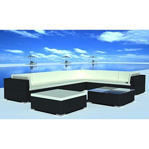lingjiushopping Ensemble canapé de jardin 24 pièces en polyrotin noir Couleur du coussin : Blanc crème Ensemble de meubles d'extérieur