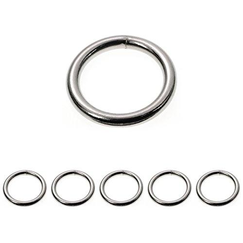 Ganzoo O - Ring Stahl, 5 Stück, 35mm außen, geschweißt Nicht-rostend, für Paracord 550