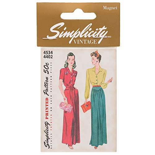 Simplicity Vintage jurk, blouse en rok decoratieve magneet, 6,3 cm B x 8,9 cm L