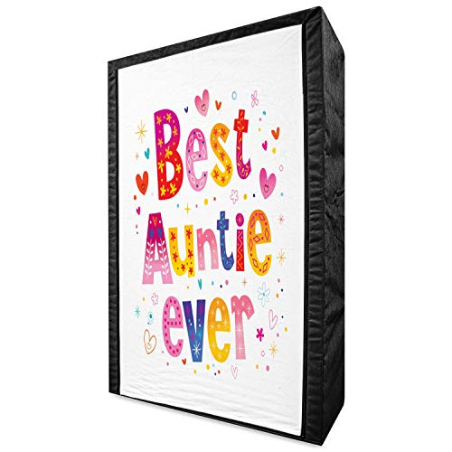 """Lunarable Aunt Portable Fabric Wardrobe, Doodle Style Best Auntie Ever Typography Childish Family Hearts Flowers Cartoon, Clothing Organizer and Storage Closet with Shelves, 42.5"""", White Multicolor"""