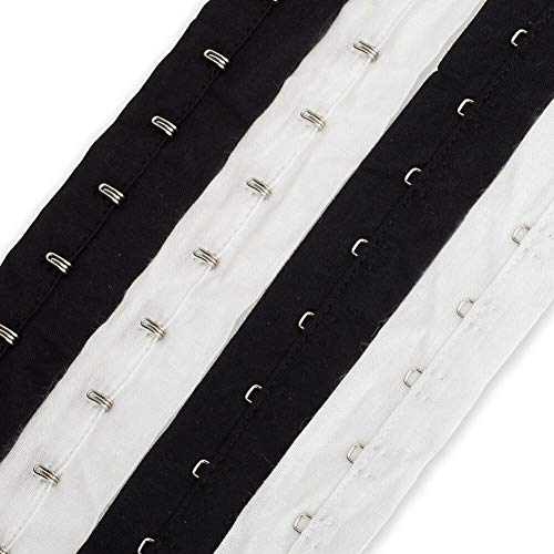 Neotrims Hook and Eye Tape Trimming, 100% Soft Cotton, Non Rust Quality Fastening, Costume, Corsets Bustier, Lingerie, Basques. Great Price! Black or White (1 Yard, Black)