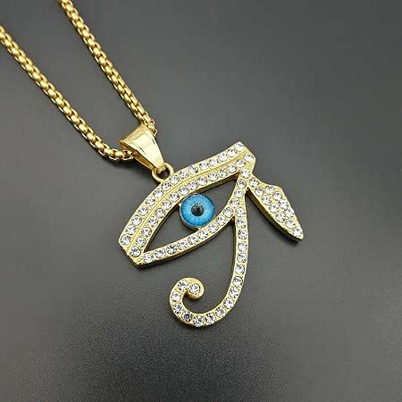 Collar de gipto antiguo, ojo de horusos, protección turquesa y pedrería.