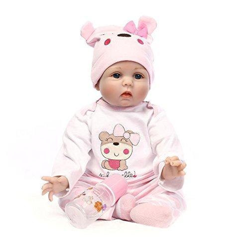 Nicery Reborn Baby Doll Puppe Weich Simulation Silikon Vinyl 22 Zoll 55 cm magnetisch Mund lebensecht lebhaft für 3 Jahre alt 3+ Boy Girl Junge Mädchen Spielzeug Pink Bear Lucy