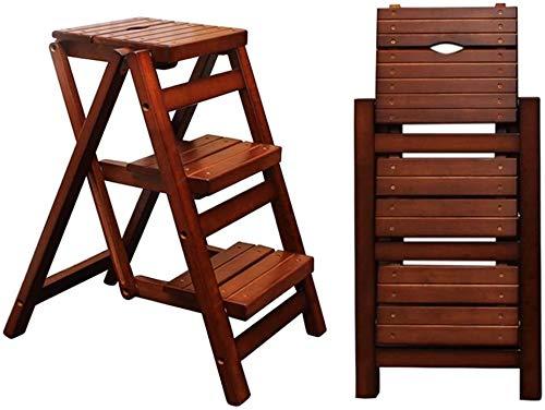 GDFEH Plegable 3 peldaños de la Escalera Taburete de Madera Sillas de heces, Escalera de Inicio Biblioteca Cocina