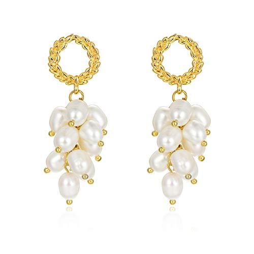 Aretes Pendientes perla cuelga los pendientes pendientes largos de perlas cultivadas de agua dulce de la calidad Handpicked Stud temperamento retro señoras pendientes de la perla de la boda para mujer