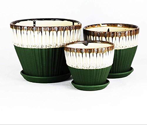 Maceta Pote de plantador de cerámica redondo para flores de jardín, planta de cactus, con orificio de drenaje y platillo, macetas de jardín de cerámica modernas de pequeña a mediana a gran tamaño Cont