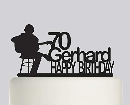 Montrwie Kuchenaufsatz für Geburtstagskuchen, klassische Gitarre, personalisierbar