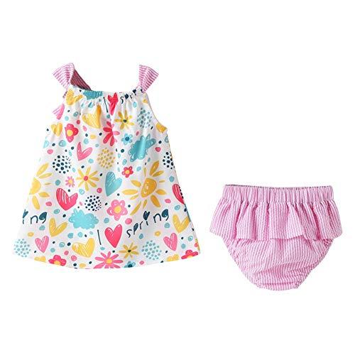 BOBORA Vêtements de Bébé Été, Ensemble Bébé Filles Robes Florales sans Manches en Coton + Bloomers à Rayures