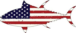 ION Graphics Fishing Decal - American Flag Tuna Vinyl Sticker - Fishing Bumper Sticker -Tuna Decal - Fishing Decal - Perfect Ocean Fishing Gift - Made in The USA Size: 6.000