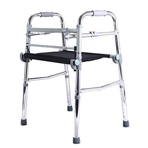 Accesorios para andadores con ruedas Walker Plegable Walker Asistencia para Caminar Ajustable Equipada con Asiento para Personas Mayores Y Personas con Movilidad Limitada con 100 KG De Plata