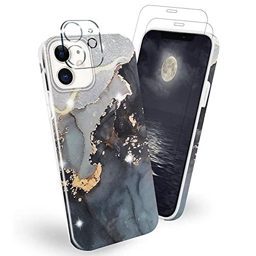 Estuche para iPhone 12/ iPhone 12 Pro 6.1 Pulgadas con [Paquete de 2] Protector de Pantalla y [Paquete de 1] Protector de Lente de cámara, Cubierta Protectora Ultra Suave de TPU