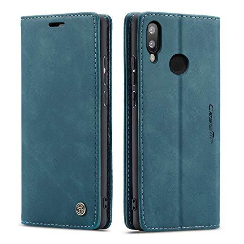 CE Mall Hülle für Huawei P Smart 2019, Leder Flip Handyhülle Schutzhülle Tasche Hülle mit [Magnetverschluss] [Standfunktion] [Kartenfach] für Huawei P Smart 2019 Handyhülle-Blau