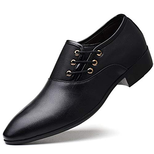 Mens Leather Toe Lace up Dress Shoes Classic Modern Business Casual Shoes(Black,Lable 46/11.5 D(M) US Men)