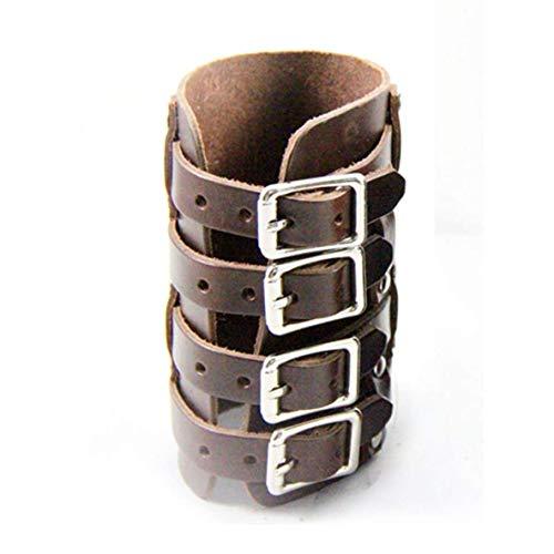 XIANGAI Exquisit Personalisierte Leder-Handgelenk-Armschiene Steampunk Punk Style Armband Cuff Vier Schnallen Adjustable Armband Schmuck