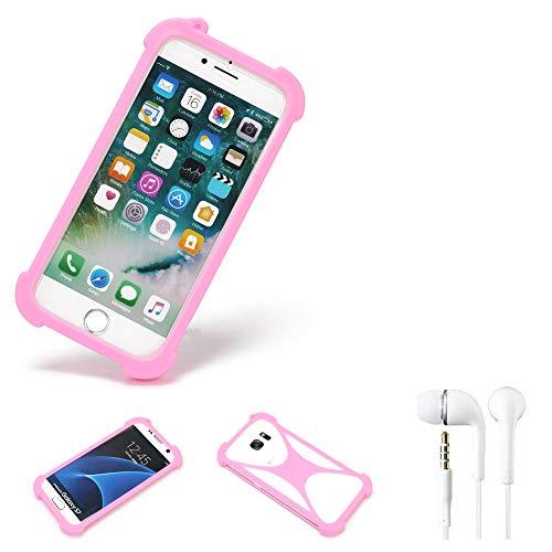 K-S-Trade Bumper + Kopfhörer Kompatibel Mit Mobistel Cynus E4 Handyhülle Schutzhülle Silikon Schutz Hülle Cover Case Silikoncase Silikonbumper TPU Softcase Smartphone, Pink (1x)
