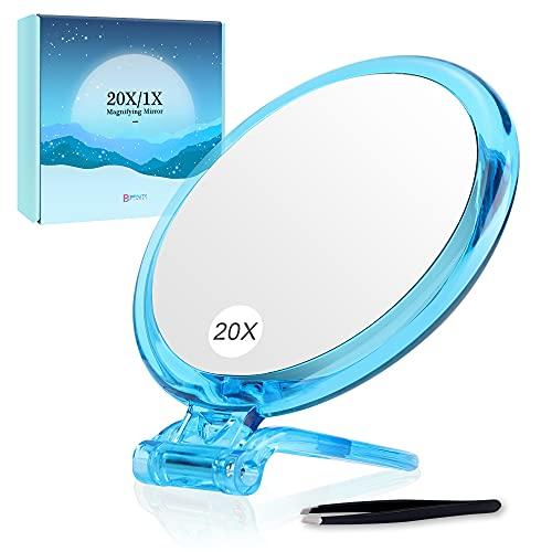 Miroir grossissant 20X, Miroir Double Face, grossissement 20X/1X, Miroir de Makeup Pliable avec Support de Poche, pour Maquillage, Pince à Poils et Points Noirs/Taches (Bleu)