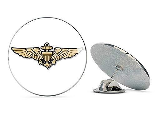 NYC Jewelers Gold Navy Aviator Wings Shaped (Logo Naval Pilot Fly Aviation) Metal 0.75' Lapel Hat Pin Tie Tack Pinback