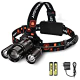 Headlamp Flashlight, LED Rechargeable Headlamps with 6000 Lumen, LED Headlamp, Full Metal Jacket, 4 Light Mode, Zoomable, Perfect for Camping, Hiking, Exploring, Hunting