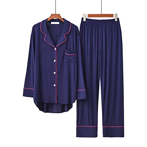 HONGFEI-SHOP Loungewear 2 unids Pijama Establece Manga Larga Femenina Suelta Transpirable Suave de Gran tamaño cómodo Ropa cómoda con Botones (Cor : B, Tamanho : S Size)