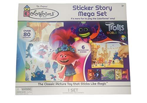 Peachtree Plaything Colorforms Sticker Story Mega Set Mickey Mouse, Trolls World Tour, Disney Princess and Jurassic Park (Trolls World Tour)