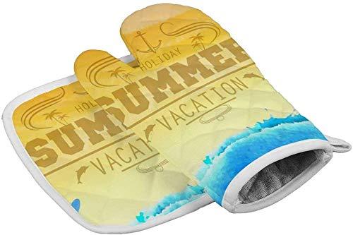 MWKLW Maniques, Gants de Four de Cuisine Bol résistant à la Chaleur, Mitaines isolées pour Affiche de Vacances d'été pour la Cuisson, la Cuisson au Four à Micro-Ondes