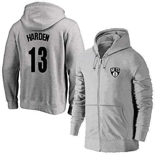James Harden # 13 Sudadera Juvenil Baloncesto para Hombre Sudadera con Capucha Sudadera con Capucha Regalo Negro XXL (Color : Gray, Size : L)