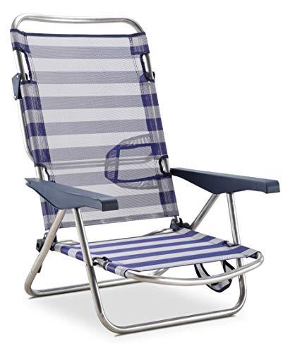 Solenny 50001072725168 50001072725168-Silla de Playa Cama Plegable 4 Posiciones Azul y Blanco Respaldo Bajo con Asas