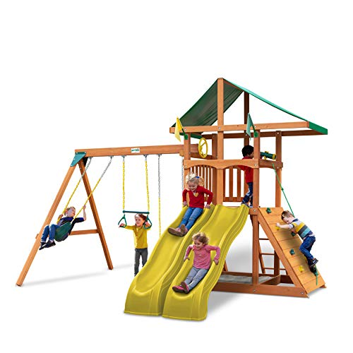 Gorilla Playsets 01-1070-Y Outing Wood Swing Set with Green Vinyl Canopy and Yellow Dual Alpine Slides, Natural Cedar