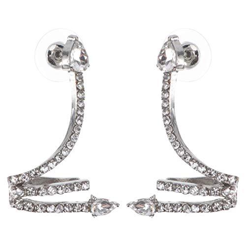 Happyyami Pendientes de Brazalete de Oreja para Mujer Clips de Oreja de Serpiente de Diamantes de Imitación Clip de Cartílago No Perforado en El Pendiente
