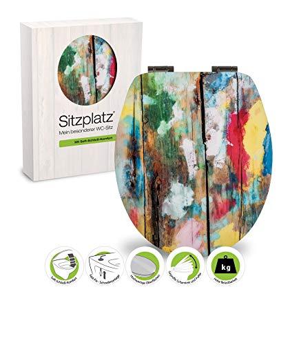 SITZPLATZ® WC-Sitz mit Absenkautomatik, buntes Dekor Farbkunst, High Gloss Toilettensitz mit Holzkern, Schnellbefestigung, Standard O Form oval, Metallscharnier, Toilettendeckel glänzend, 40327 6