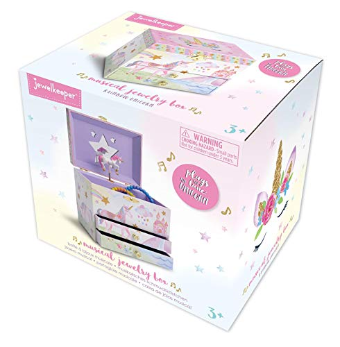 Jewelkeeper Musical Jewelry Box with 2 Pullout Drawers, Glitter Rainbow and Stars Unicorn Design, The Unicorn Tune 7